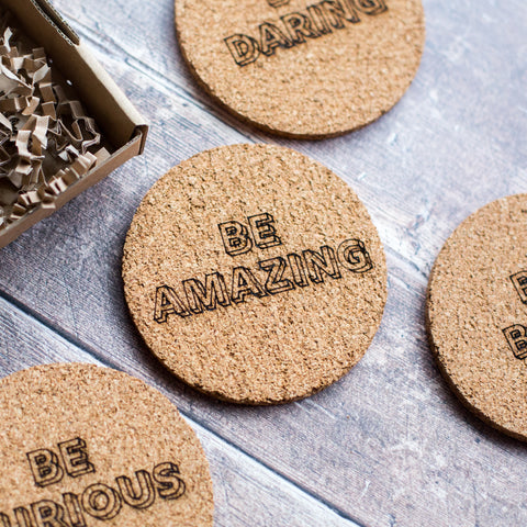 Typographic Cork Coaster Set