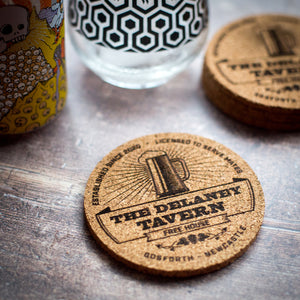 Personalised Home Pub Name Coaster Set