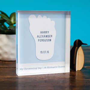 personalised christening acrylic block
