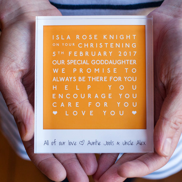 personalised godchild acrylic block