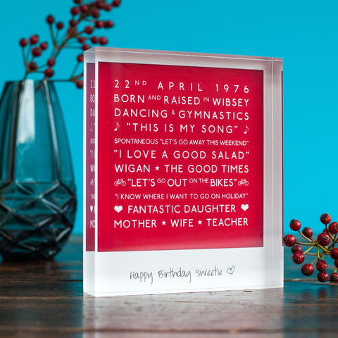 personalised mark the occasion acrylic block