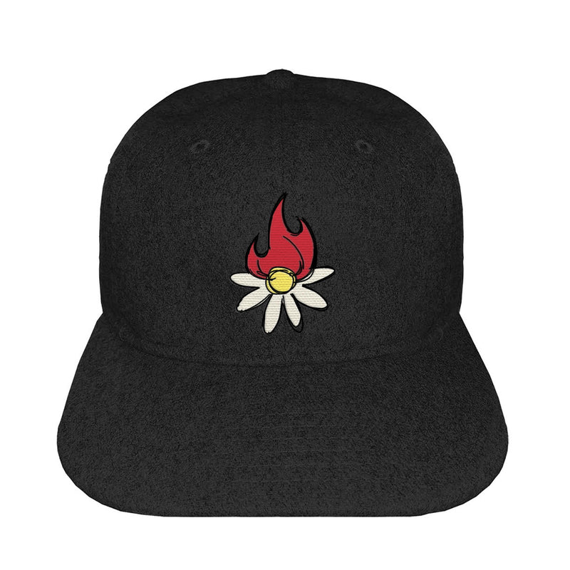 BURNING DAISY WOOL CAP - BLACK