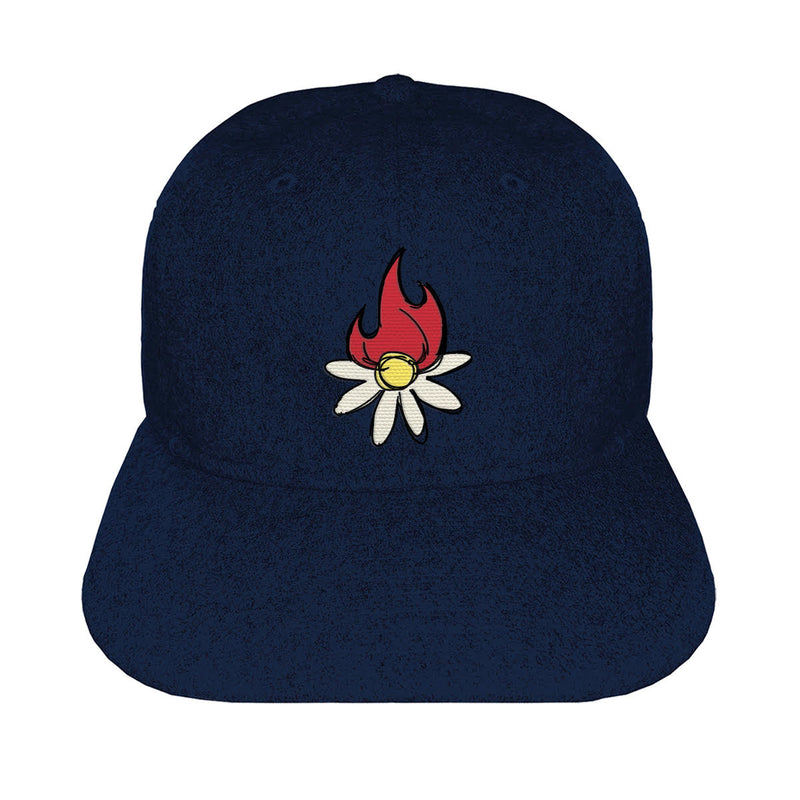 BURNING DAISY WOOL CAP - NAVY