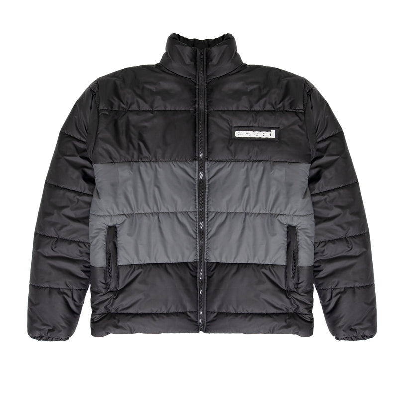 NOWHERE,USA PUFFER JACKET - BLACK/GREY