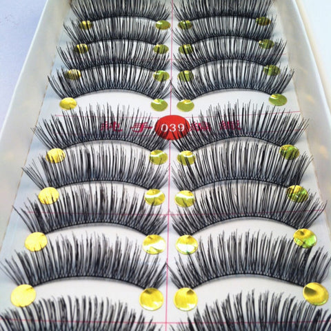 40 Pairs/lot Handmade Fake Eyelashes False Eyelash Natural Look Cotton Black Stalk  Eye Lash For Building Makeup Fake Eyelashes