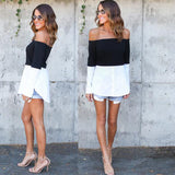 Color Block Contrast Women Tops White Casual Sweet Fashion Blouse Black Off Shoulder Slash Neck Sexy Shirt