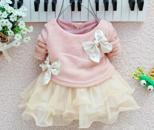Baby Girl dress Long Sleeve Bow Infants Newborn Baby Clothes Pink Princess Tutu Dress