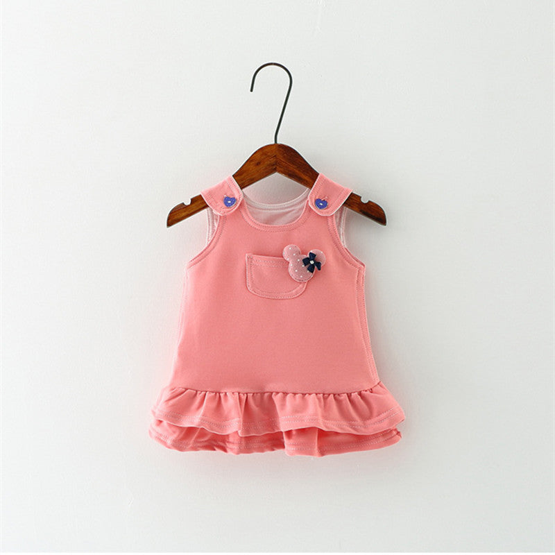 2017 Princess Baby Dress Summer Cotton Casual Dresses For Girls Newborn Ruched Clothing With Button&Pocket For 0-2 T Babies