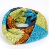 Fashional Womens Winter Scarves Warm Knitted Scarf Wrap Women Cape Multicolor Rainbow Circle Scarfs