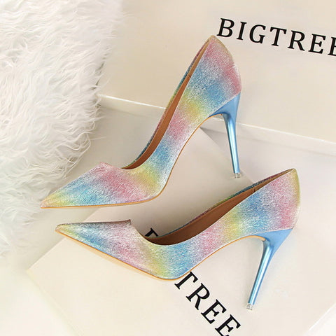 Spring Autumn Fashion sweet women pumps 9.4 CM Fine high heels Shallow mouth Pointed shine Fight color Gradient rainbow shoes