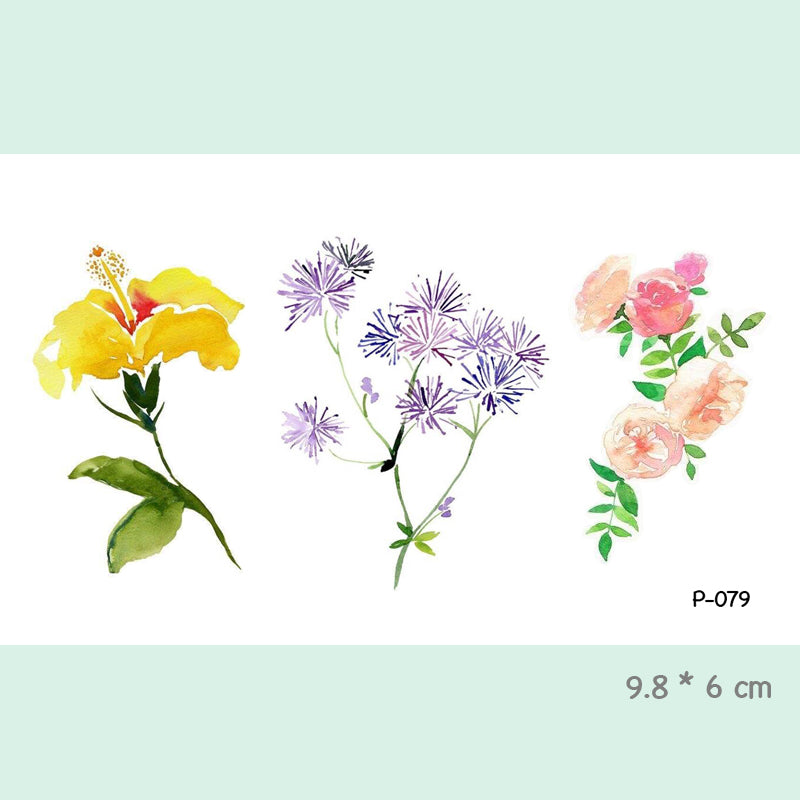 Watercolor Flower Waterproof Temporary Tattoo Stickers for Adults Kids Body Art  Fake Tatoo for Women Men Tattoos P-079