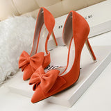 Fashion Women Pumps Women Shoes High Heels Sexy Thin Heel Ladies Wedding Shoes Bowtie Sweet Bow tie 9.5 CM