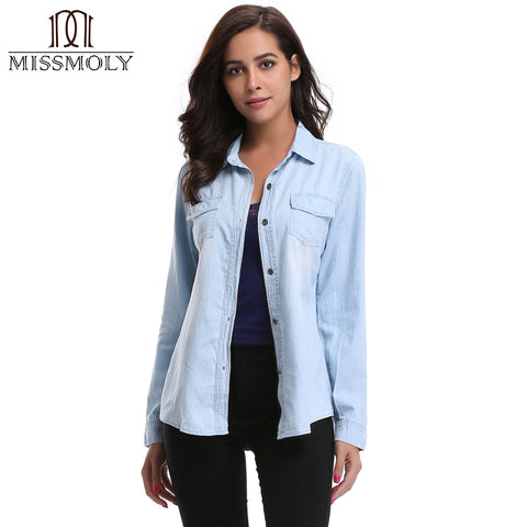 Miss Moly Young Jean Boyfriend Denim Collar Shirt Top Casual Button Jacket Rolled Sleeves Point Collar Western Shirt Size XS-XL