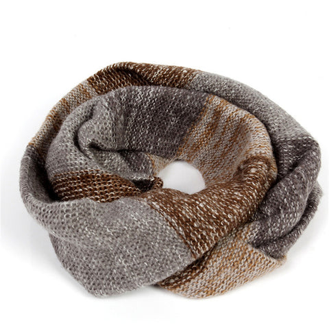 2016 New Fashion Mix Colors Ring Women Scarves Knitted Cowl Wrap Shawl Winter Warm Ring Loop Scarf