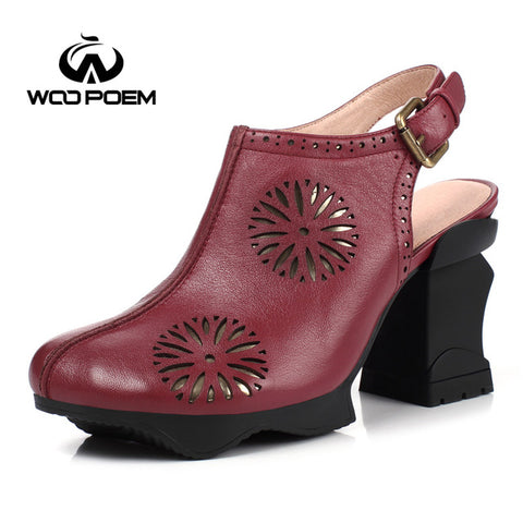 WooPoem Spring Autumn Shoes Women Breathable Cow Leather Pumps Super High Heels Shoes Fashion Buckle Women Pumps W17F7713G
