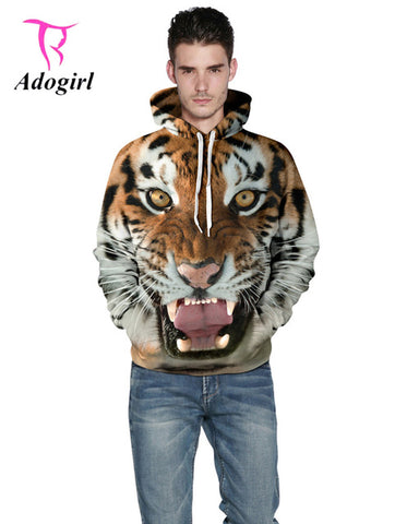 Adogirl Women Men Autumn 3D Tiger Print Hooded Hoodies Halloween Streetwear Plus Sizes XXXL Sweatshirts Loose Couples Pullovers