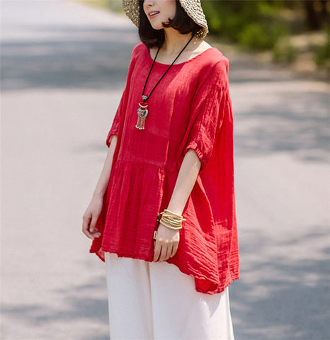 Yesno TK1 Women Shirt Tops Blouses Casual Loose High Waist 100% Linen Large Hem