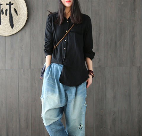 Yesno E21 Women Blouses Tassel Hem Turn Down Collar Blouse Long Sleeve Cotton Linen Shirt Women Camisas Femininas Tops Blouses