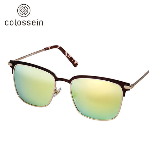 COLOSSEIN Orange Label Brand 2017 Classic Sunglasses Square Metal Frame Light Yellow Polaroid Lens Women Eyewear Glasses