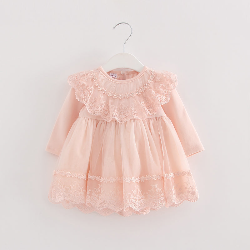 2017 Autumn cotton pearls Kids clothes newborn Girls infant dress baby clothing baby girls dress vestido infantil 3 color