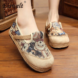 EISWELT Lace-up Cotton Fabric Casual Flats loafers Linen Hemp Round Toe Totem Embroidered Ethnic Style Fashion Cute Shoes#ZQS071