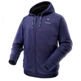 ORORO Mens Grey Navy Heated Jacket Hoodies Full Zip Heated Coat with Hood for Man Light Weight 4400mAh Rechargeable Battery