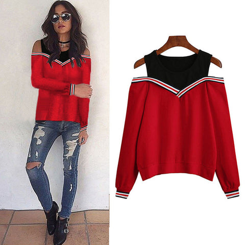 2017 New Arrival Fashion Women Sexy Off Shoulder Long Sleeve Sweatshirt Blouse Tops Pullovers Hot Sale#20