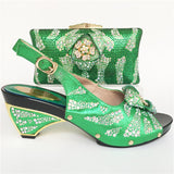 Italian Shoe With Matching Bag For Party green Stones Wedding Shoes And Bag Set High Quality Women Pumps Silver color PU leather