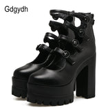 Gdgydh 2017 New Autumn Gladiator Shoes Woman Thick Heel Platform Female Single Shoes Sexy Buckle Women Pumps High Heels Black