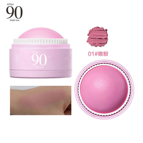 Hold Live 3 Colors Face Blusher Ball Soft Moisturizing Cream Blush Makeup Soft Silky Bronzer Sweet Glow Cheeks a Natural Look