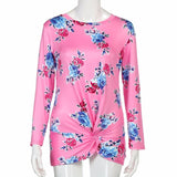 Beautiful cheap Women Long Sleeve Floral Printed Casual Blouse Tops O Neck women blouse camisas femininas manga longa camisas