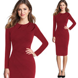 Vfemage Womens Autumn Winter Elegant Patchwork Slim Casual Work Business Office Party Fitted Bodycon Pencil Sheath Dress 4682