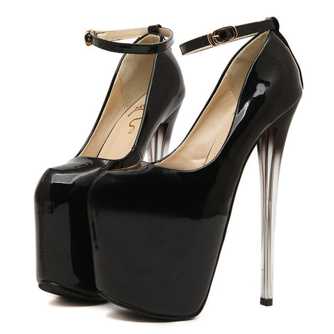 16/19/22cm Super High Heels Women Pumps Round Toe Patent Leather Pumps For Women Ankle Strap Sexy Women Wedding Shoes Size 43