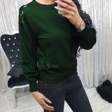 2017 KLV New Fashion Women Casual Long Sleeve Sweatshirt Tops Pullover Blouse#20