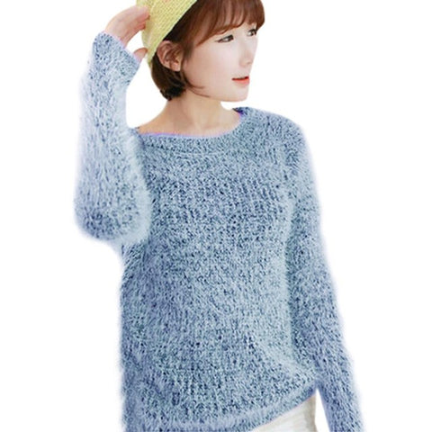 Women Long Sleeve Knitted Pullover Loose Jumper Tops Knitwear Autumn winter Soft Pullovers Dames Kleding