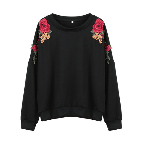 2017 KLV New Arrival  Women Long Sleeve Embroidery Floral Solid Black Hoodies Blouse Tops Shirts Hot Sale#20