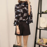 Women Floral Chiffon Blouse Flare Sleeve Shirts Ladies Office Long Sleeve Designer