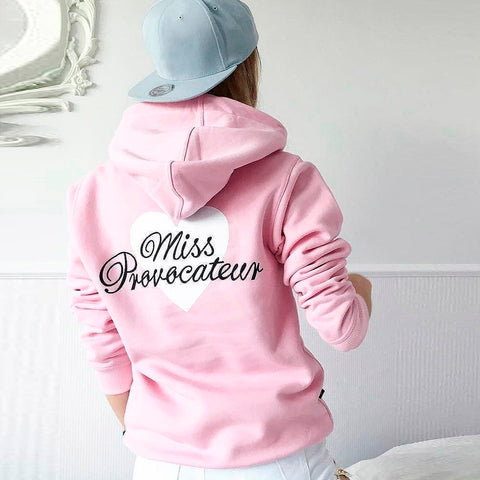 New Women Fashion Pink Autumn Winter Sweatshirt Ladies Casual Hoodie Sweatshirt Long Sleeve Hooded Coat Pullover Pullover Tops