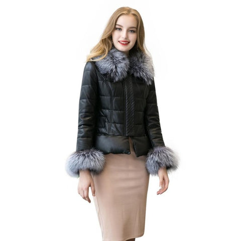 2017 New Winter Warm Women's Faux Fur Collar Zipper Coat Quilted Jacket Coat leather jacket Large Plus size XXXL
