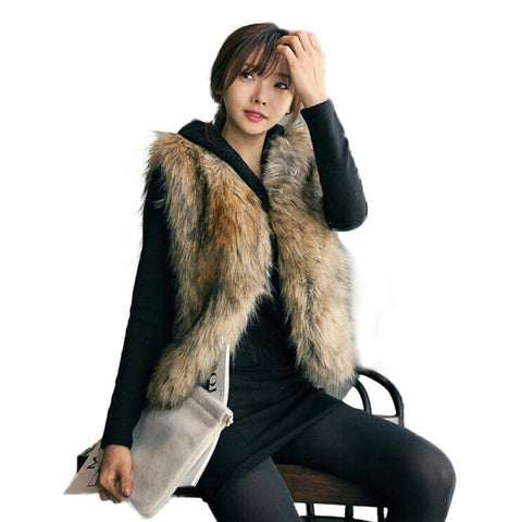 High quality Fur Vest coat Luxury Faux Fox Warm Women Coat Vests Winter Fashion furs Women's Coats Jacket Gilet Veste #45