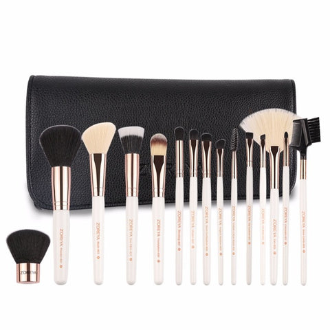 ZOREYA 15pcs Professional Makeup Brush Sets Foundation Blending Coutour Eyeliner Brushes Cosmetic Make Up Brush Tool Kits Brush