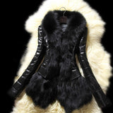2017 New Fashion Winter  Women Warm Fur Collar Coat Leather Thick Jacket Overcoat Parka  Plus Size 2XL Black Faux Fur Pu Coat