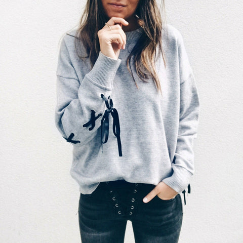 Women Casual Sweatshirt Female Fashion Personality Trend Lace Bow O-Neck Knitted Crop Tops Coat Casual Pullover Tops Tracksuit