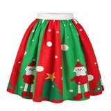 Echoine Christmas Festival Santa Claus Elk Gift Print Women Pleated Skirts High Waist Ball Gown Knee Length Women Skirt