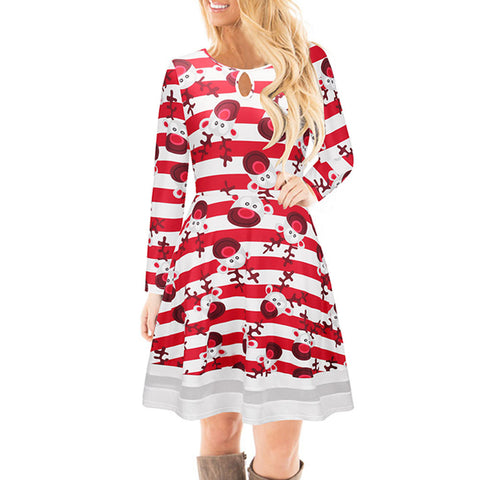 Fashion Red Striped Printed Dresses Women Christmas Clothing Girls Lady O-Neck Long Sleeve Santa Pattern Casual Mini Dress #YL