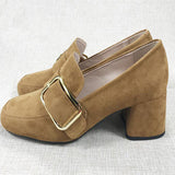 High Heels Chunky Brown Big Size European Pumps 2017 Low Square Toe Block Shoes For Women Retro 9 40 Autumn Retro Asakuchi
