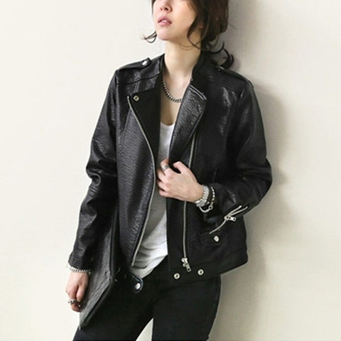 New Women Autumn Winter Thick Leather Motorcycle Jacket Long Sleeve Stand Casual Solid Zipper Short Faux Leather Biker Jacket