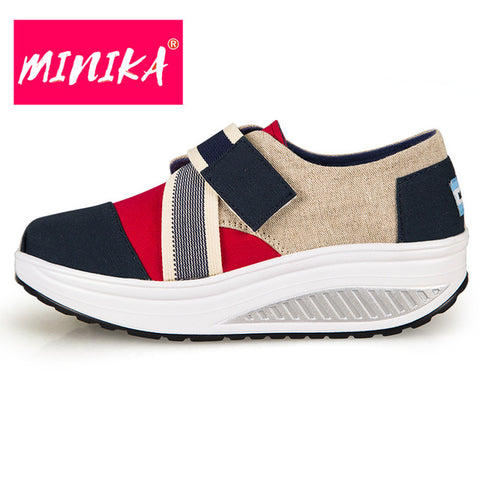 MINIKA Fashion Hook Loop Flat Shoes Women Height Increase Slip On Women Casual Shoes Super Comfort Insole Swing Platform Shoes