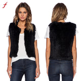 2017 Winter Women Faux Fur Vest Sleeveless Coat Outerwear Black Short Jacket
