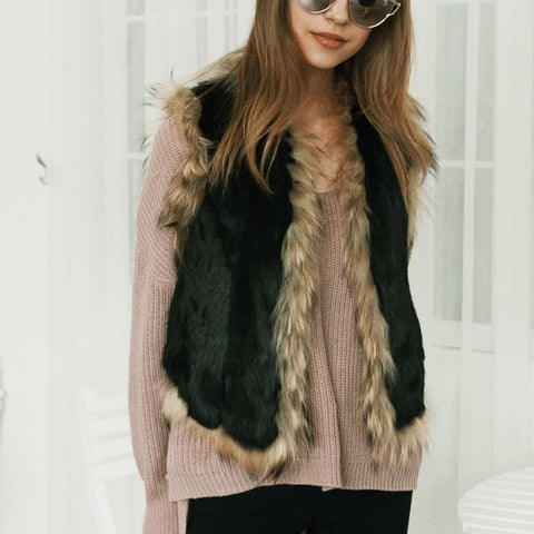 2017 Winter Womens Faux Fur Waistcoat Vest Gilet Black Jacket Coat Sleeveless Outwear Hot Sale